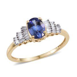 9K Y Gold Tanzanite (Ovl 0.85 Ct), Diamond Ring 1.000 Ct.
