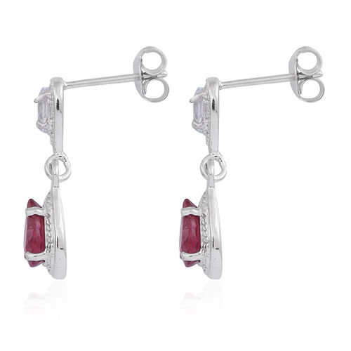 African Ruby (Pear), White Topaz Earrings (with Push Back) in Rhodium Plated Sterling Silver 2.600 Ct.