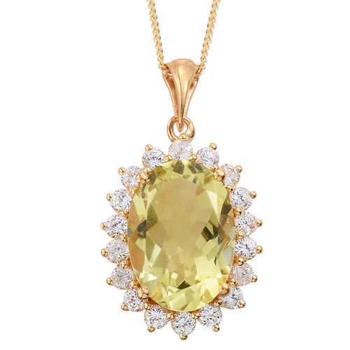 Natural Green Gold Quartz (Ovl 5.30 Ct), Natural Cambodian Zircon Pendant With Chain in 14K Gold Overlay Sterling Silver 6.750 Ct.