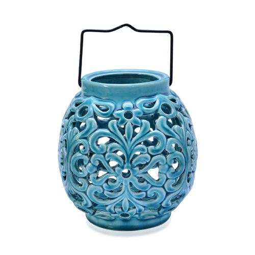 Hand Made Flower Pattern Blue Colour Ceramic Outdoor Candle Holder-Lantern