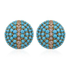 12.50 Carat Arizona Sleeping Beauty Turquoise And White Topaz Cluster Stud Earrings in 14K Gold Overlay Sterling Silver