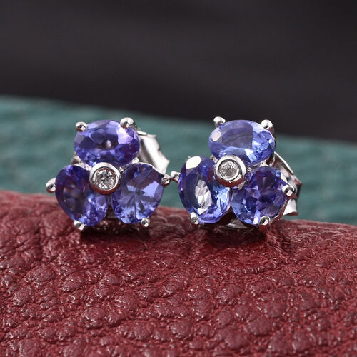 9K W Gold Tanzanite (Ovl), Natural Cambodian Zircon Stud Earrings (with Push Back) 1.100 Ct.