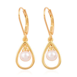 Japanese Akoya Pearl (Rnd 5-6 mm) Lever Back Earrings in Yellow Gold Overlay Sterling Silver