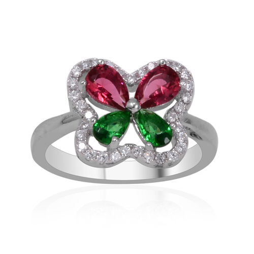 AAA Simulated Ruby (Pear), Simulated Emerald and Diamond Ring in Sterling Silver