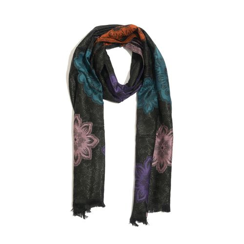 Designer Inspired Multi Colour Embroidered Black Colour Scarf (Size 190x65 Cm)