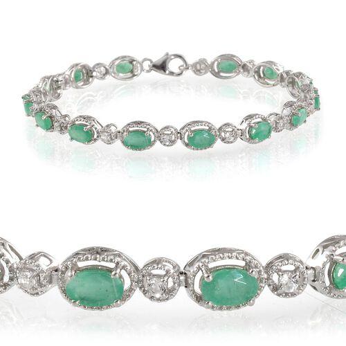 Kagem Zambian Emerald (Ovl), White Topaz Bracelet (Size 7.5) in Platinum Overlay Sterling Silver 7.250 Ct.