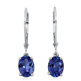 14K White Gold 2.15 Carat Tanzanite Oval Solitaire Lever Back Earrings.