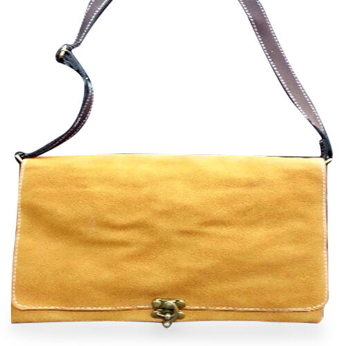 Faux Leather Mustard Colour Shoulder Bag with Adjustable Chocolate Colour Strap (Size 27x20 Cm)