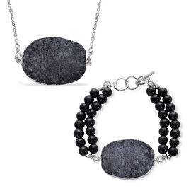 Black Onyx and Grey Drusy Quartz Pendant With Chain and Bracelet (Size 7.5) in Stainless Steel