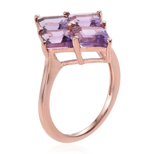 Rose De France Amethyst Ring in Rose Gold Overlay Sterling Silver 3.250 Ct.