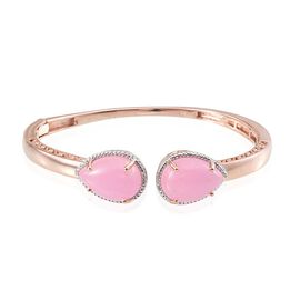 Pink Jade (Pear), Diamond Bangle (Size 7.5) in Rose Gold Overlay Sterling Silver 24.780 Ct.