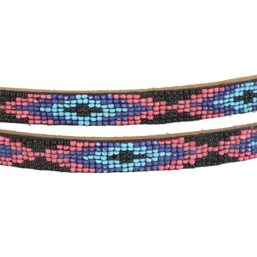 Genuine Leather Handmade Pink, Blue and Multi Colour Seed Beaded Belt (Size 110x1.25 Cm)