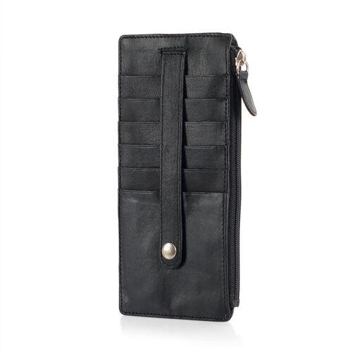 Genuine Leather RFID Blocker Black Colour Ladies Wallet (Size 17x8 Cm)