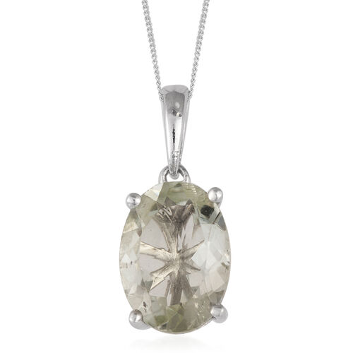 Green Amethyst (Ovl) Sterling Silver Pendant With Chain 4.900 Ct.