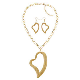 Hook Earrings and Heart Necklace (Size 20) in Gold Tone