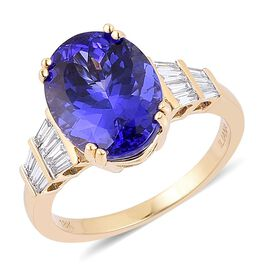 ILIANA 18K Y Gold AAA Tanzanite (Ovl 7.00 Ct), Diamond Ring 7.250 Ct.