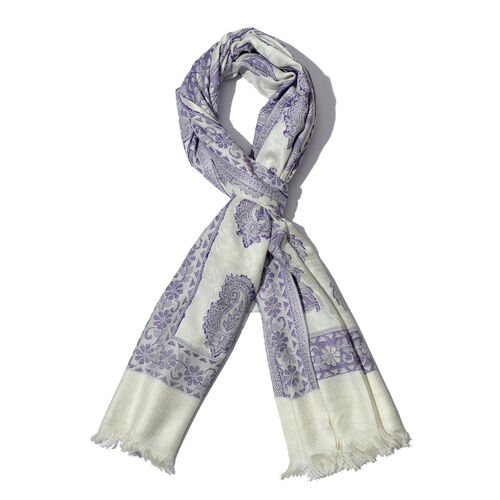 Purple Colour Jacquard Print White Shawl (Size 200x70 Cm)
