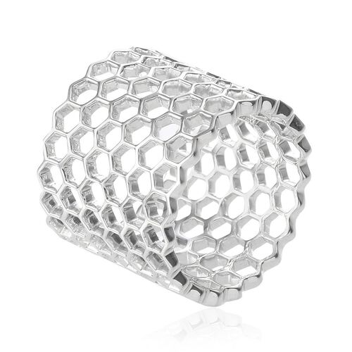 Platinum Overlay Sterling Silver Honey Comb Band Ring, Silver wt 6.35 Gms.