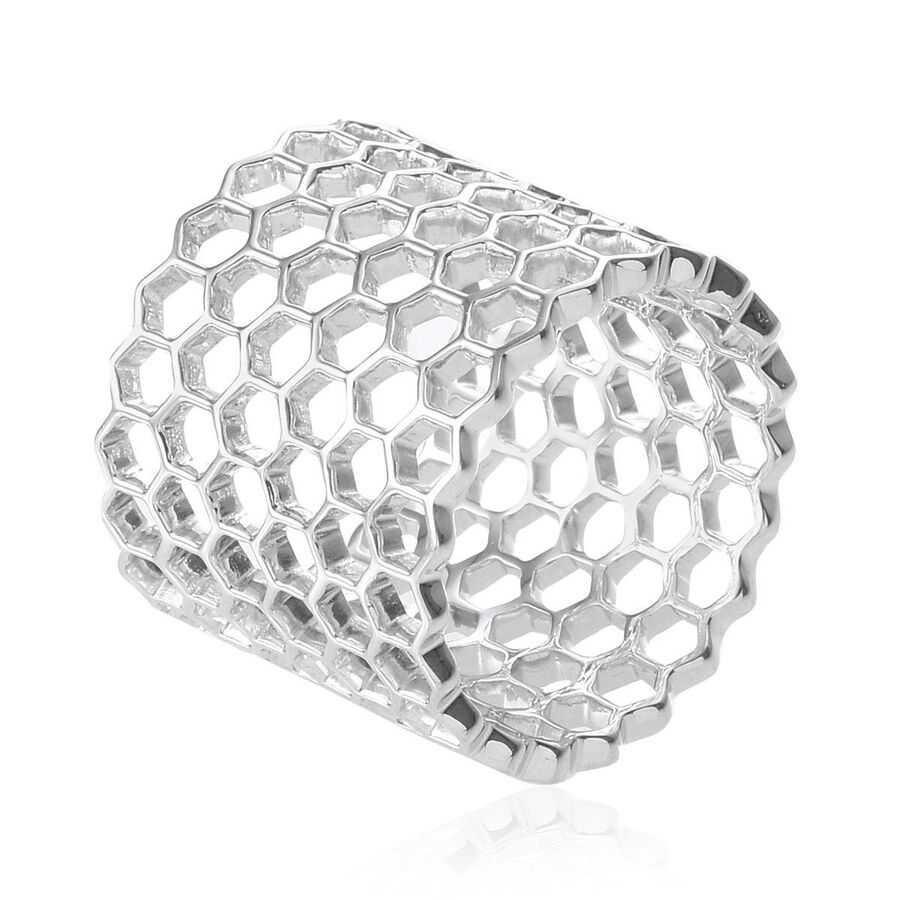 Platinum Overlay Sterling Silver Honey Comb Band Ring