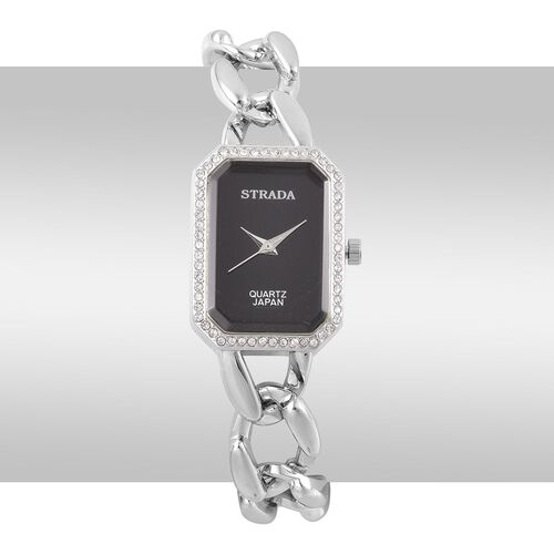 Designer Inspired- STRADA Japanese Movement White Austrian Crystal Watch in Silver Tone with Stainless Steel Back