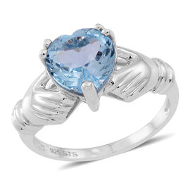 Sky Blue Topaz (Hrt) Claddagh Ring in Rhodium Plated Sterling Silver 3.000 Ct.
