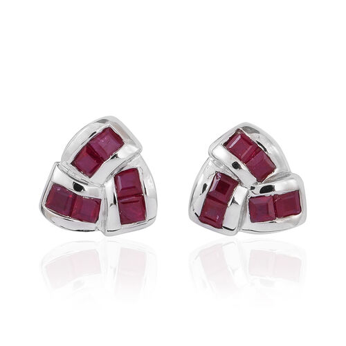 Burmese Ruby (Sqr) Knot Stud Earrings (with Push Back) in Rhodium Plated Sterling Silver 1.500 Ct.