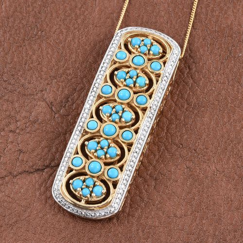 Arizona Sleeping Beauty Turquoise (Rnd) Pendant with Chain in 14K Gold Overlay Sterling Silver 2.250 Ct.