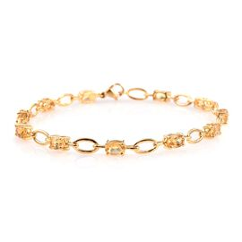 Citrine (Ovl) Bracelet (Size 8) in ION Plated 18K Yellow Gold Bond 4.500 Ct.