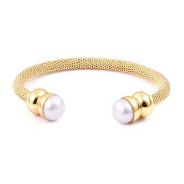 Designer Inspired Fresh Water White Pearl (11mm) Torque Mesh Bangle (Size 7.5) in Gold Tone