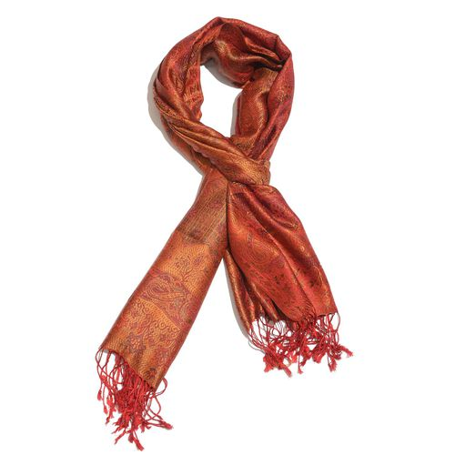 SILK MARK - 100% Superfine Silk Red and Multi Colour Floral and Leaves Pattern Orange Colour Jacquard Jamawar Shawl with Fringes (Size 180x70 Cm) (Weight 125-140 Grams)