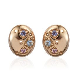 Kimberley Espirito Santo Aquamarine (Rnd), Tanzanite and Pink Sapphire Stud Earrings (with Push Back) in 14K Gold Overlay Sterling Silver