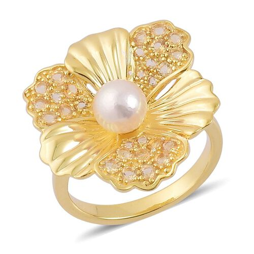 PEARL EXPRESSIONS Japanese Akoya Pearl (Rnd), Citrine Ring in Yellow Gold Overlay Sterling Silver