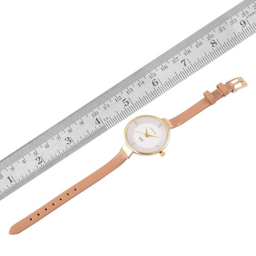 STRADA Japanese Movement White Dial with White Austrian Crystal Water Resistant Watch in Yellow Gold Tone with Stainless Steel Back and Light Brown Colour Strap