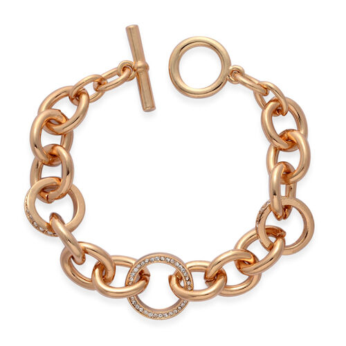 White Austrian Crystal T-Bar Chain Bracelet (Size 7.5) In Gold Tone