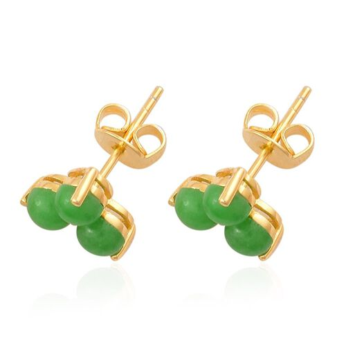 Chinese Green Jade (Rnd) Stud Earrings (with Push Back) in 14K Gold Overlay Sterling Silver 2.500 Ct.
