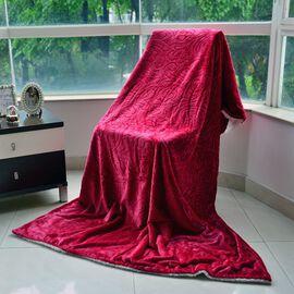Superfine Microfibre Cloud Shaving Flannel Reversible Sherpa Blanket Red (Size 130x200 Cm)