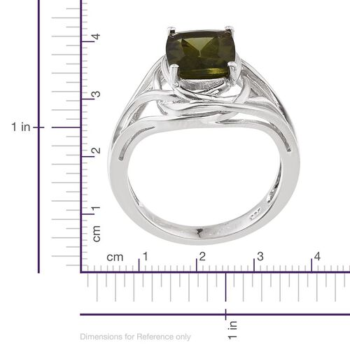 Bohemian Moldavite (Cush) Solitaire Ring in Platinum Overlay Sterling Silver 2.250 Ct.