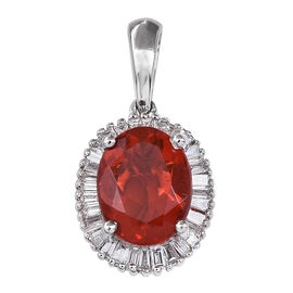 RHAPSODY 950 Platinum Jalisco Fire Opal (Ovl 1.25 Ct), Diamond Pendant 1.500 Ct.