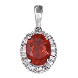 RHAPSODY 950 Platinum Jalisco AAAA Fire Opal (Ovl 1.25 Ct), Diamond Pendant 1.500 Ct.