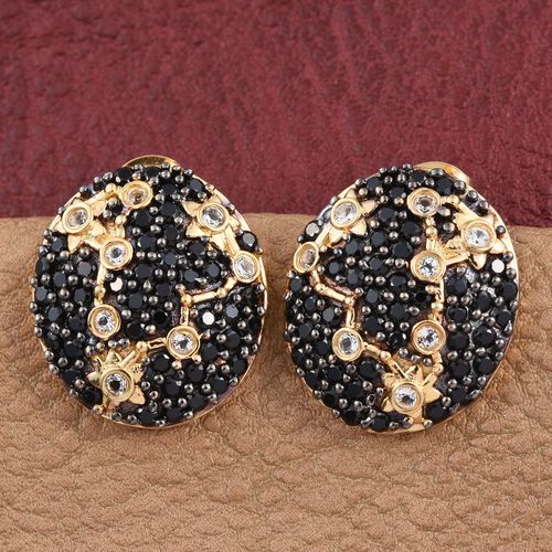 Night Sky Boi Ploi Black Spinel, White Topaz Stud Silver Earrings in 14K Gold Overlay 3.250 Ct.