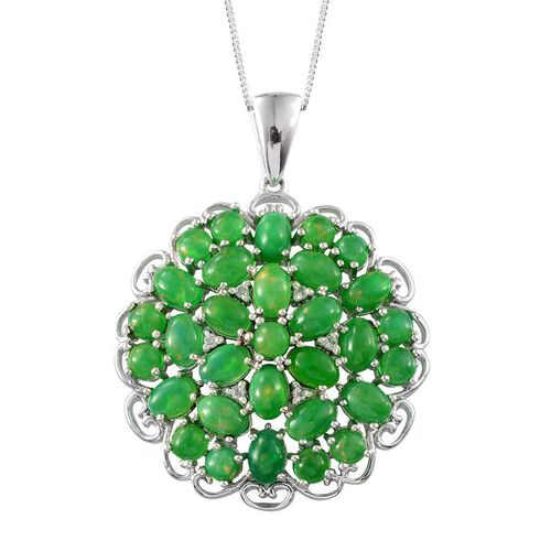 Green Ethiopian Opal (Ovl), White Topaz Cluster Pendant With Chain in Platinum Overlay Sterling Silver 9.900 Ct.