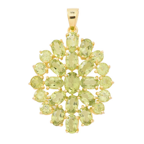 Designer Inspired-Hebei Peridot (Ovl) Floral Pendant in 14K Gold Overlay Sterling Silver 9.750 Ct.