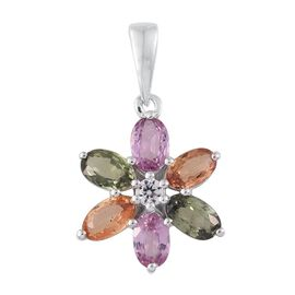 9K White Gold 1.79 Ct AA Multi Sapphire Floral Pendant with Natural Cambodian Zircon