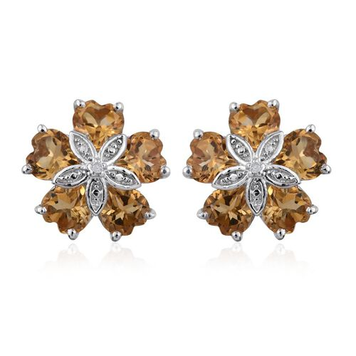 Citrine (Hrt), Diamond Floral Stud Earrings (with Push Back) in Platinum Overlay Sterling Silver 4.010 Ct.