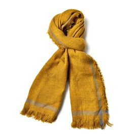 Yellow and Grey Colour Scarf with Tassels (Size 190x60 Cm)