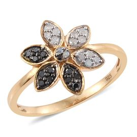 0.25 Carat Black And White Diamond Floral Ring in 14K Gold Overlay Sterling Silver