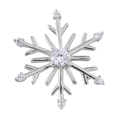 ELANZA AAA Simulated Diamond (Rnd) Snowflake Pendant in Platinum Overlay Sterling Silver