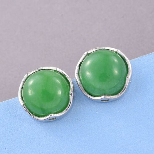 Green Jade (Rnd) Stud Earrings (with Push Back) in Platinum Overlay Sterling Silver 10.250 Ct.