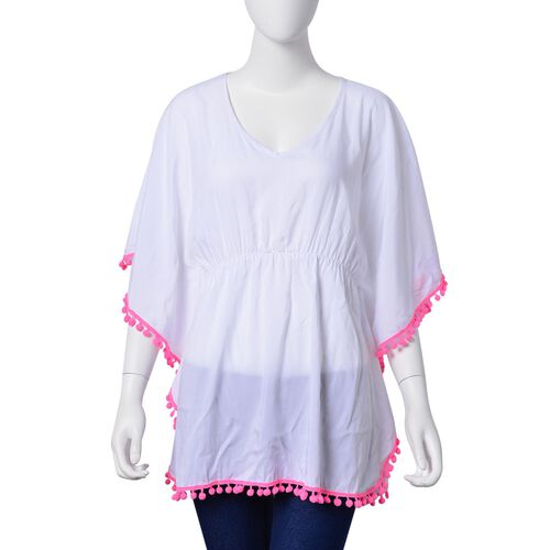 White and Pink Colour Apparel with Tassels (Size 80X70 Cm)