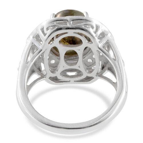 Labradorite (Ovl 4.00 Ct), White Topaz Ring in Platinum Overlay Sterling Silver 4.250 Ct.